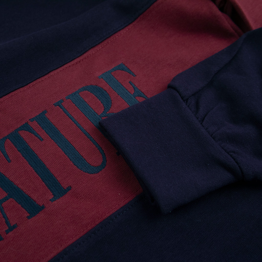 Signature Clothing Nevermind Rugby Shirt in Navy / Burgundy - Sleeve