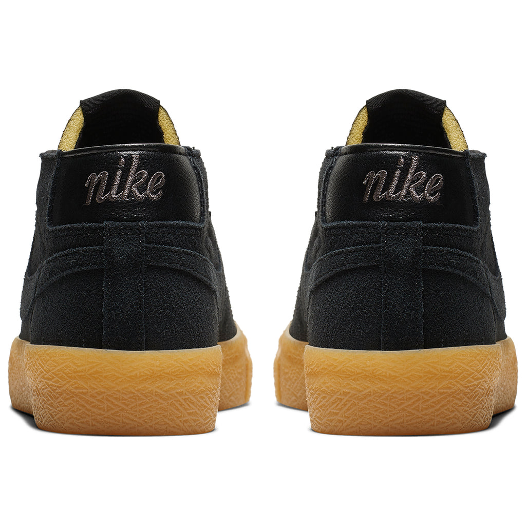 Nike SB Zoom Blazer Chukka Shoes in Black / Black - Thunder Grey / Gum - Heel