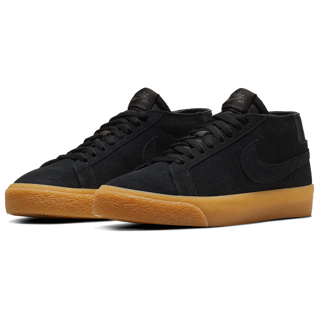 Nike SB Zoom Blazer Chukka Shoes in Black / Black - Thunder Grey / Gum - Pair
