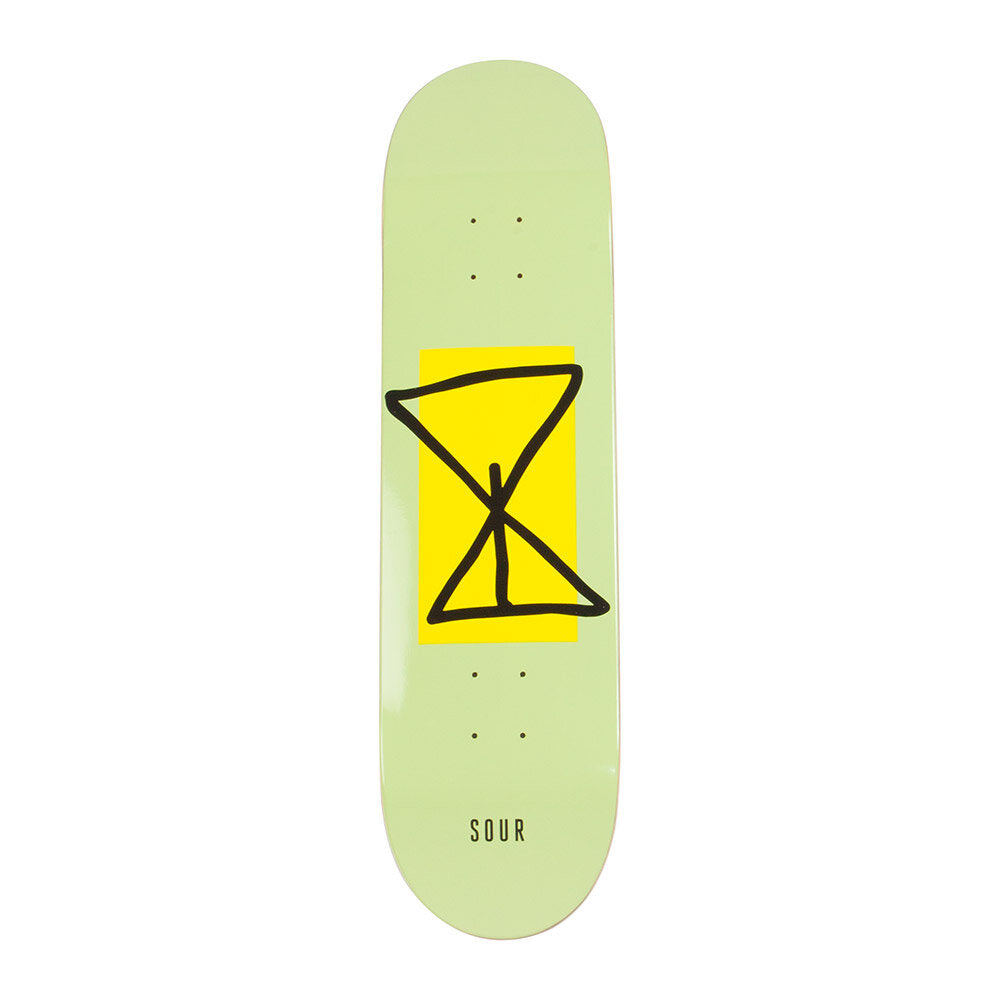 "Sour Skateboards Sourglass Yellow Skateboard Deck 8.25"" - Front"
