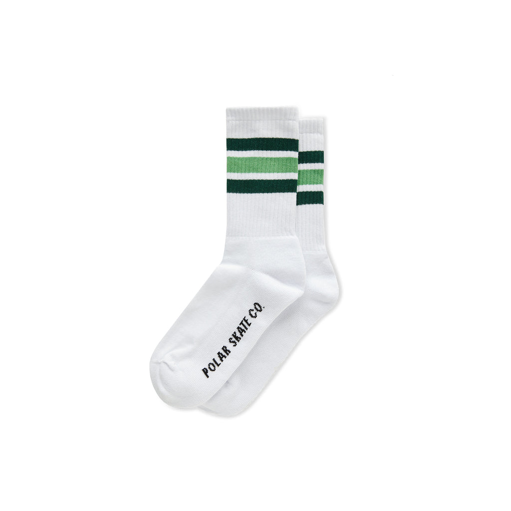 Polar Skate Co Stripe Socks in White / Green
