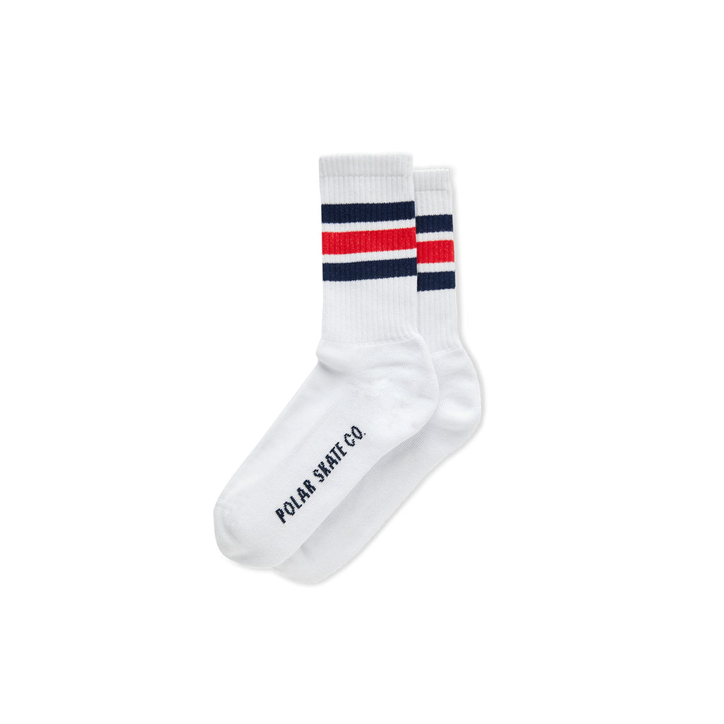 Polar Skate Co Stripe Socks in White / Navy / Red