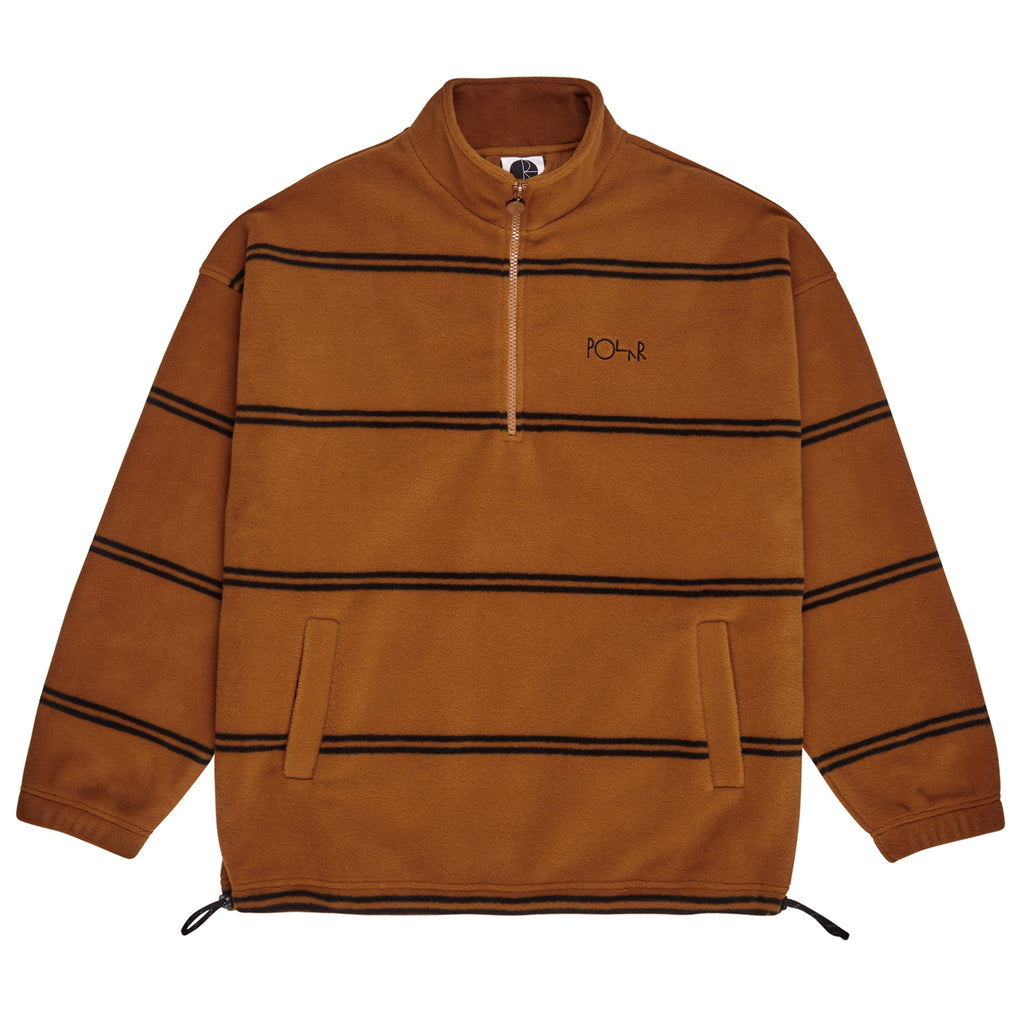 Polar Skate Co Striped Fleece Pullover 2.0 in Caramel - Zipped