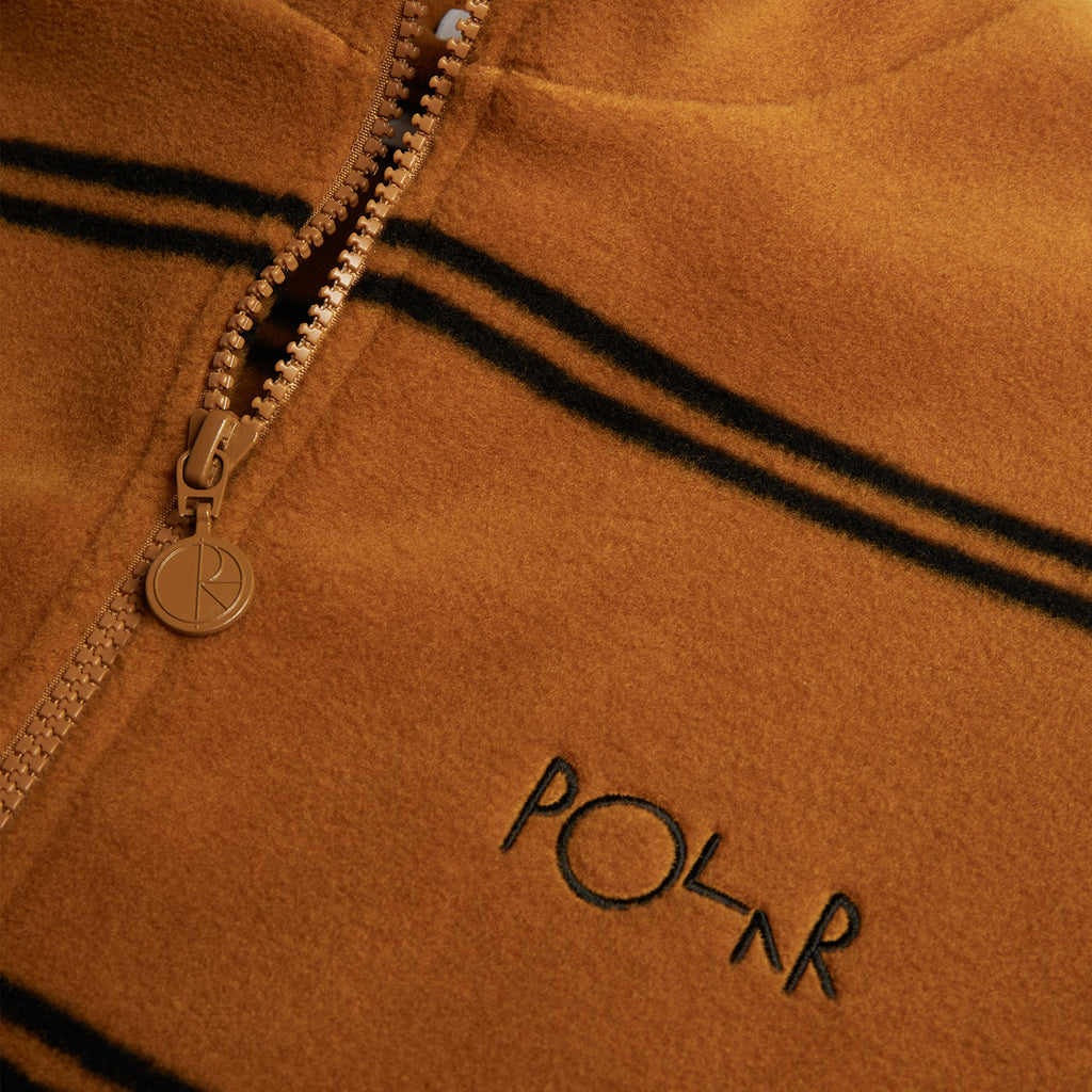 Polar Skate Co Striped Fleece Pullover 2.0 in Caramel - Detail