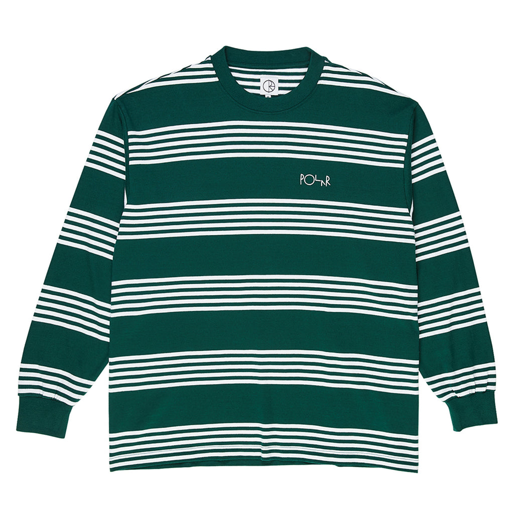 Polar Skate Co L/S Striped T Shirt in Dark Green