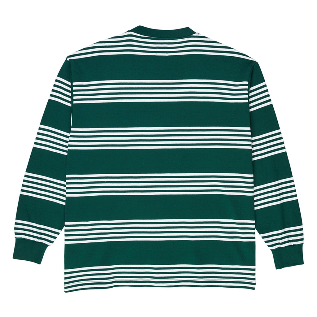 Polar Skate Co L/S Striped T Shirt in Dark Green - Back