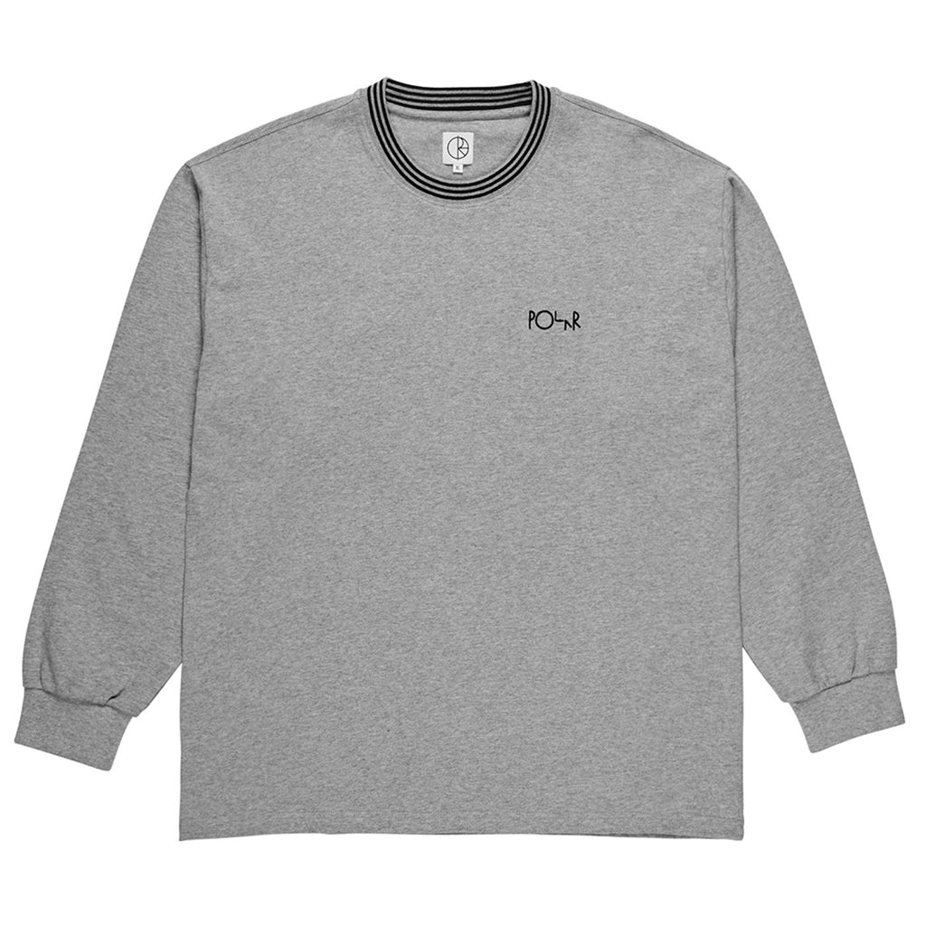 Polar Skate Co L/S Striped Rib T Shirt in Heather Grey