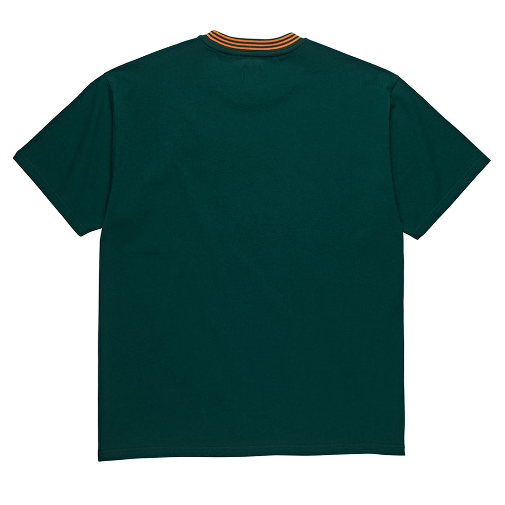 Polar Skate Co Striped Rib T Shirt in Dark Green - Back