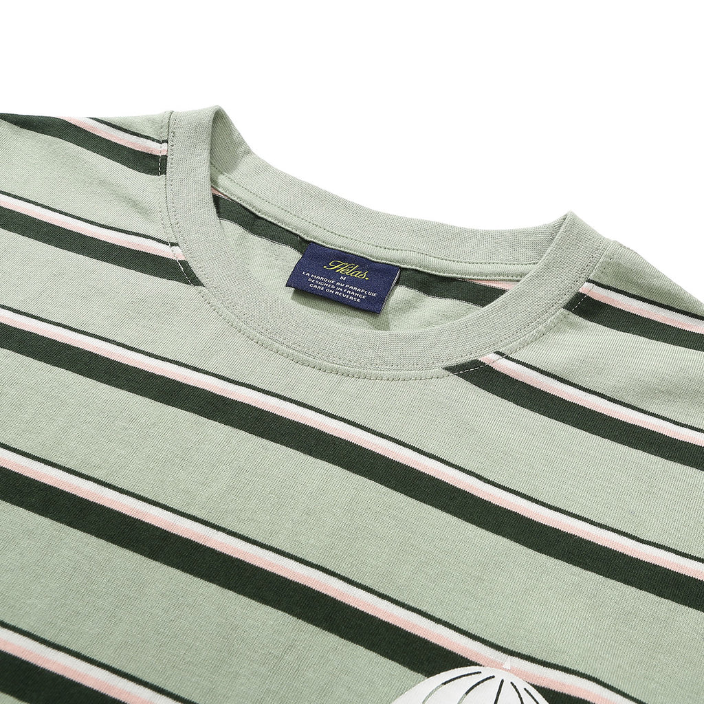 Helas Stripy UMB T Shirt Pastel Green - Neck