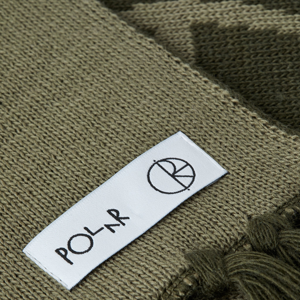 Polar Skate Co Stroke Logo Scarf in Olive - Label