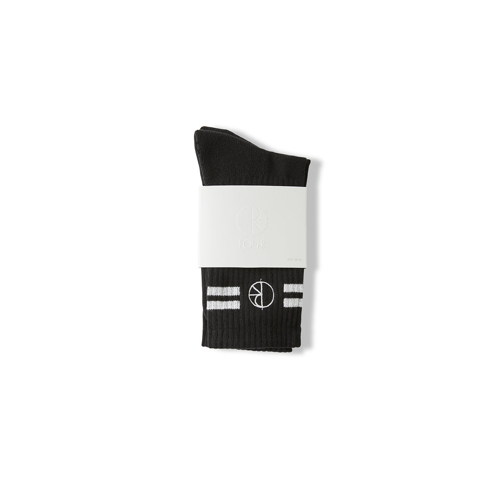 Polar Skate Co Stroke Socks in Black - Packaged