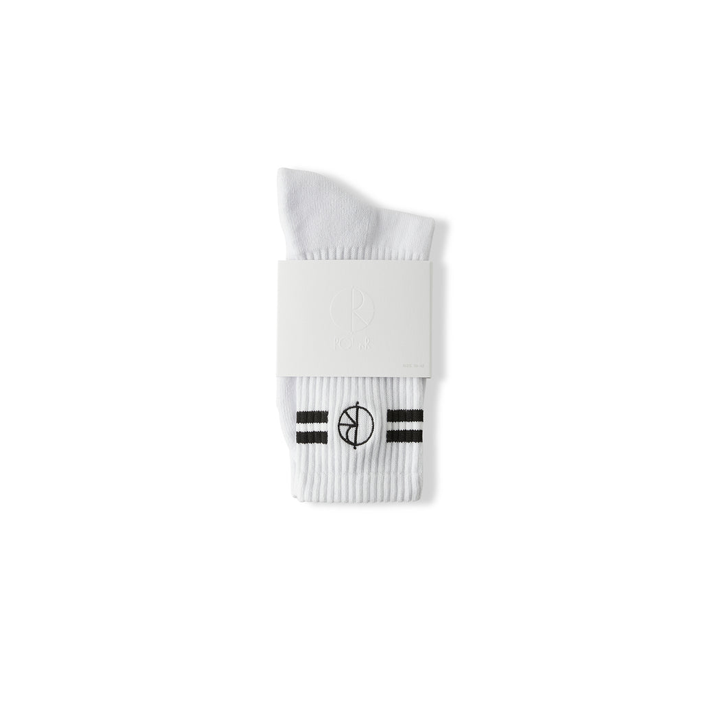 Polar Skate Co Stroke Socks in White - Packaged