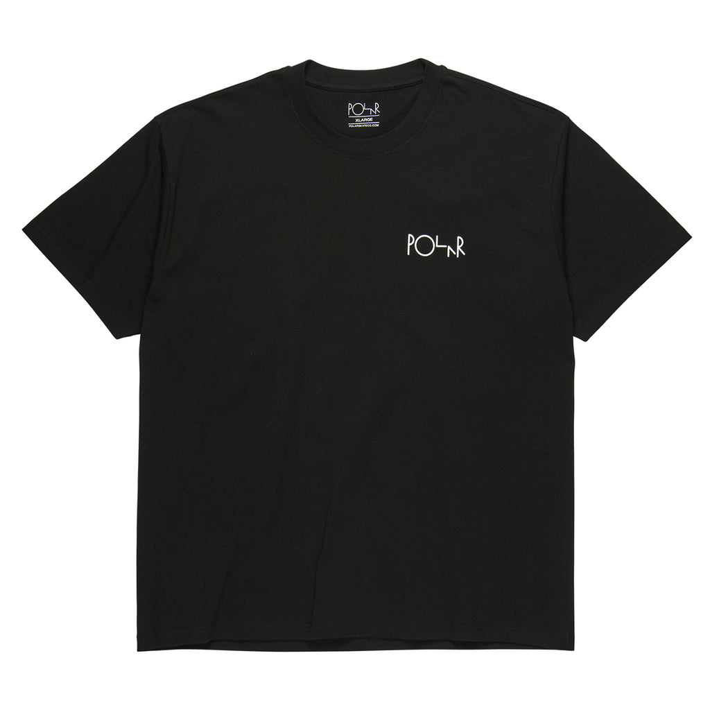 Polar Skate Co Stroke Logo T Shirt in Black / White - Front