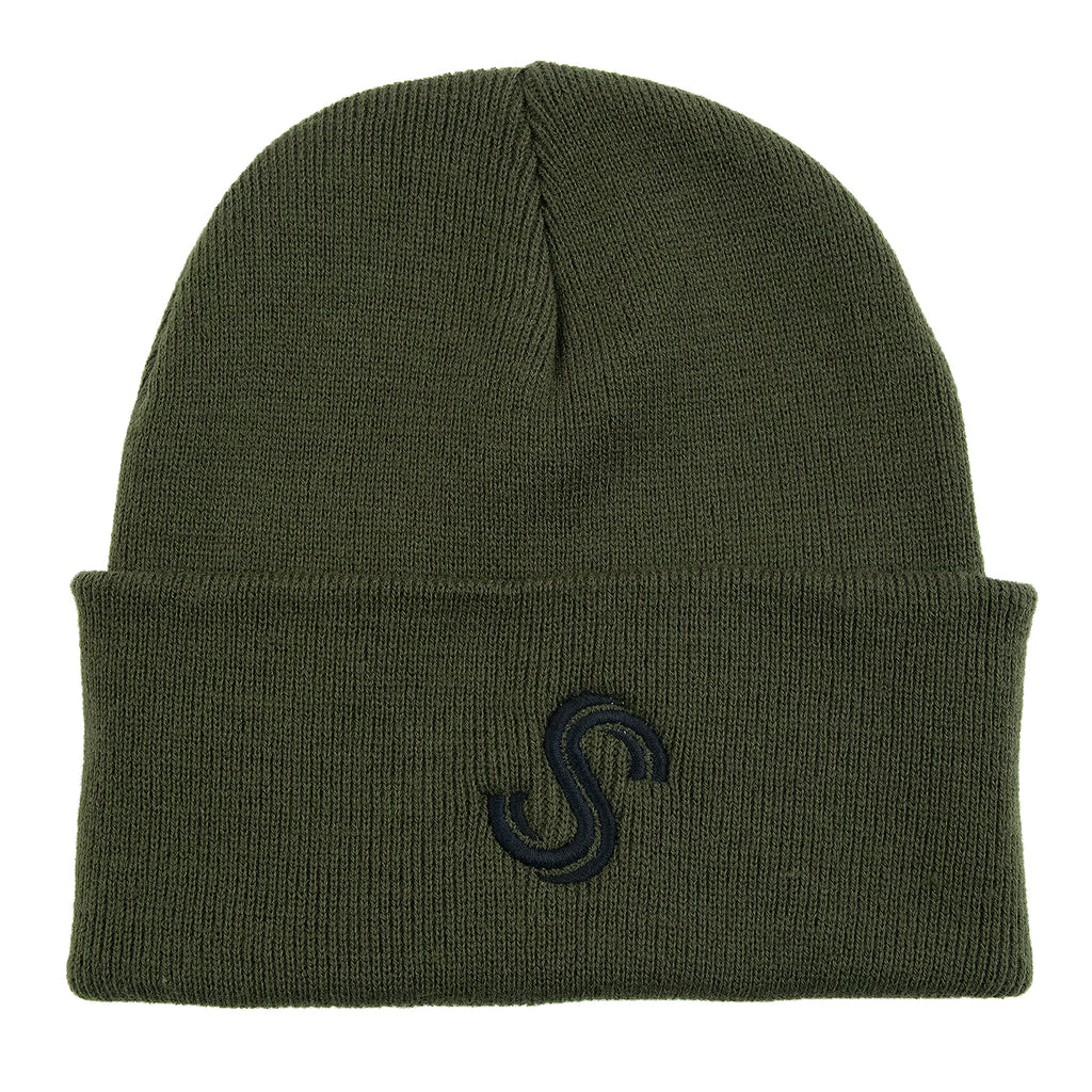 Signature Clothing S Logo Beanie in Moss Green / Black