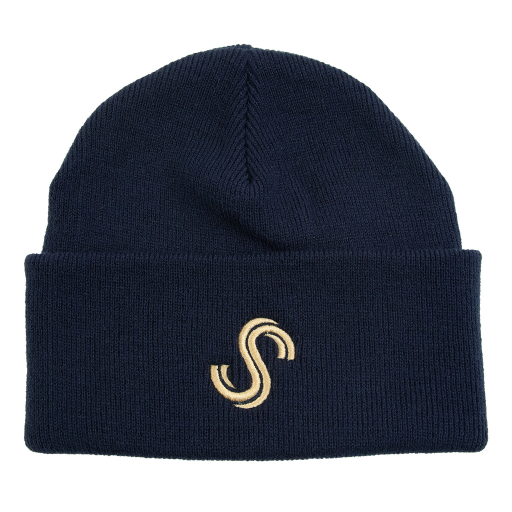Signature Clothing S Logo Beanie in French Navy / Gold