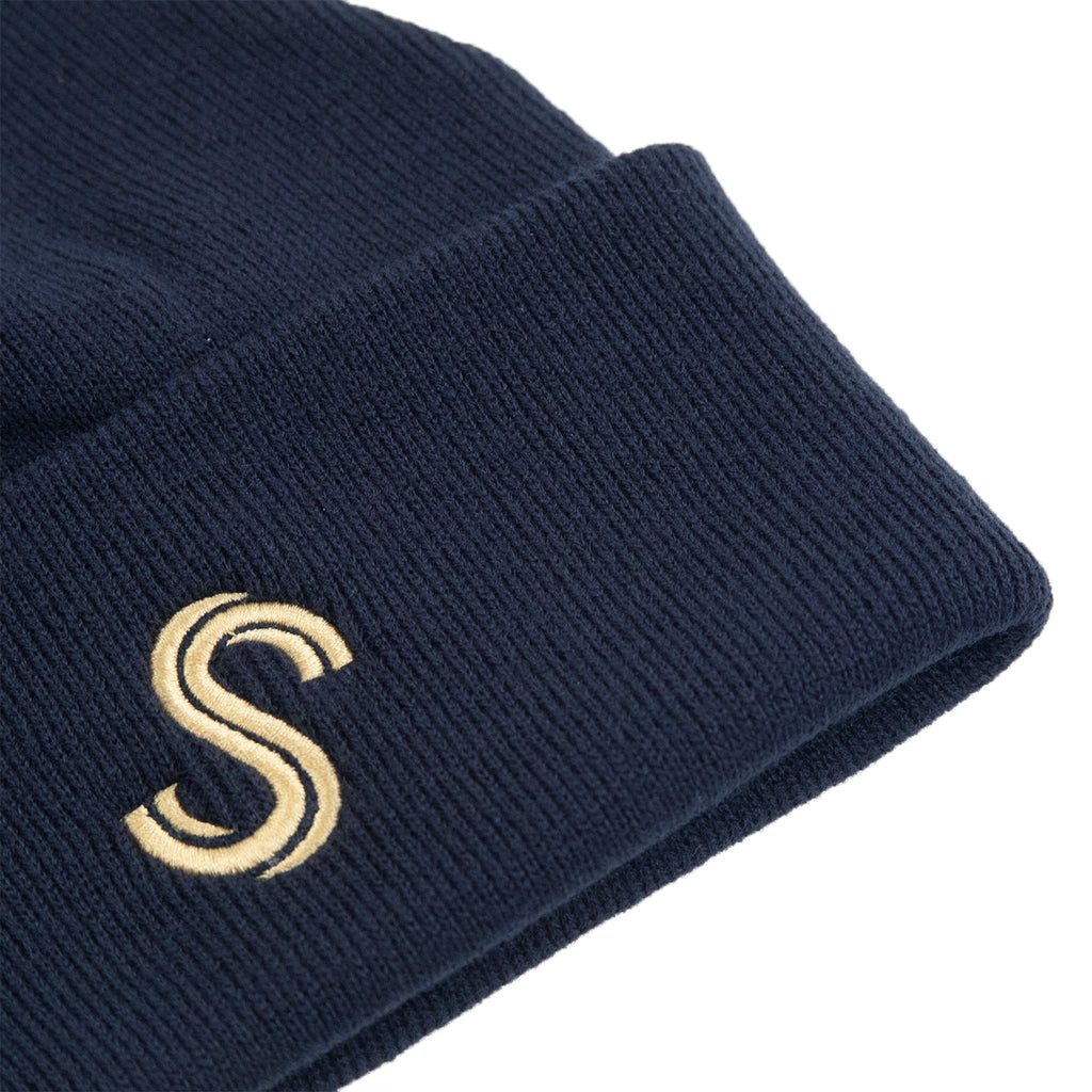 Signature Clothing S Logo Beanie in French Navy / Gold - Detail