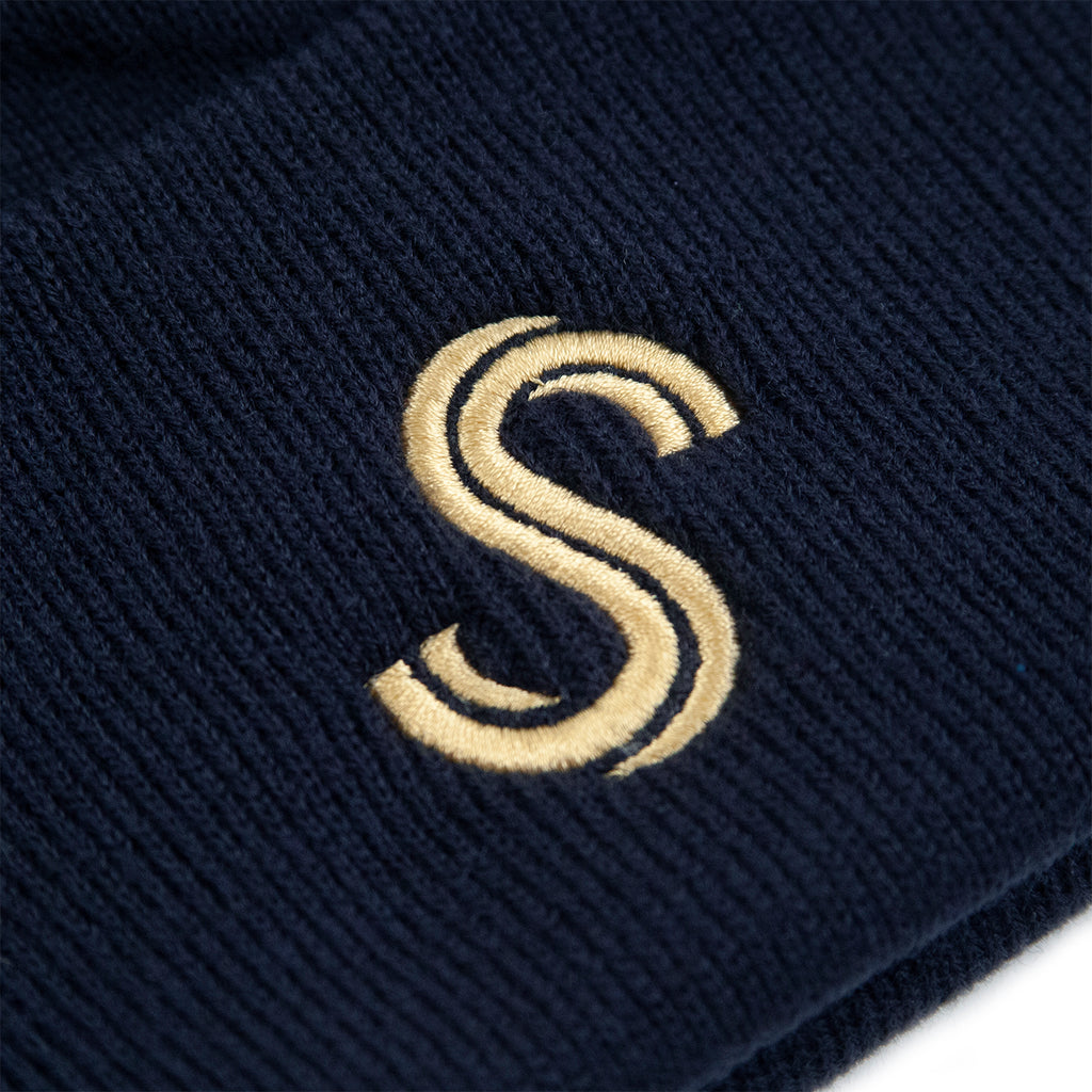 Signature Clothing S Logo Beanie in French Navy / Gold - Embroidery