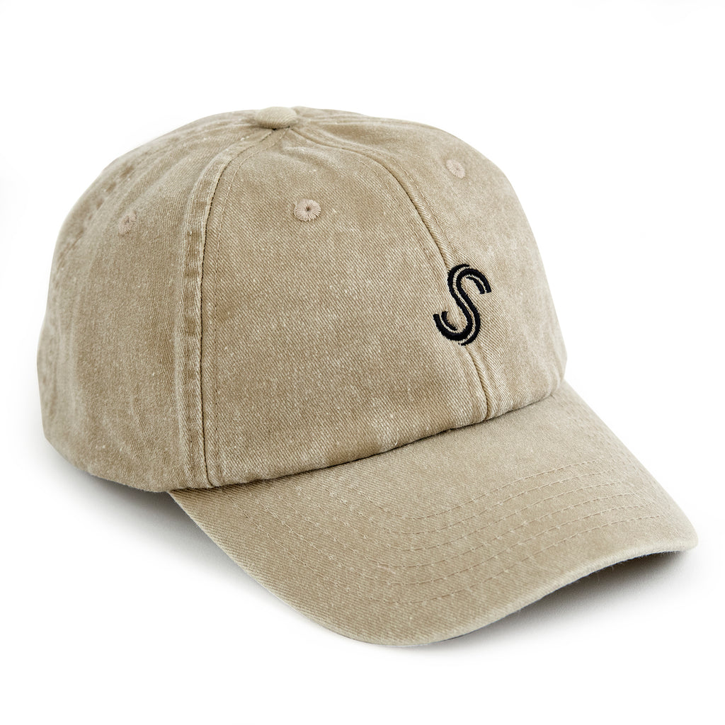 Signature Clothing S Logo Dad Cap in Stone Wash
