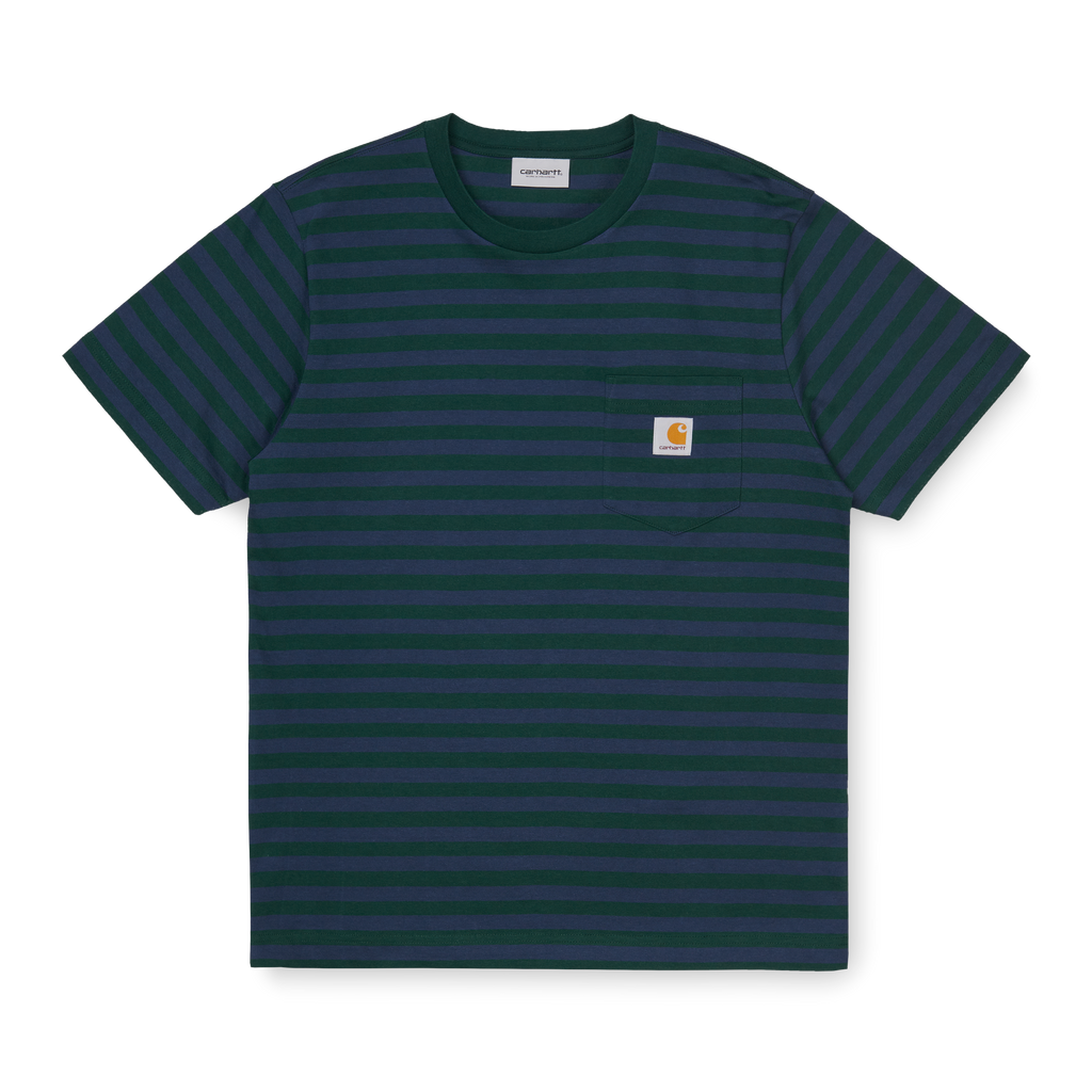 Carhartt WIP Parker Pocket T Shirt in Bottle Green / Admiral