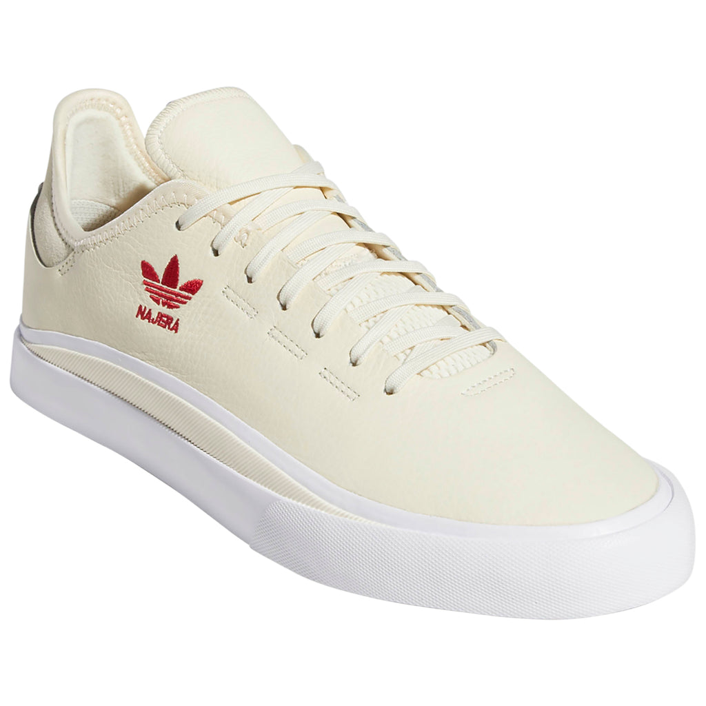 Adidas Skateboarding Sabalo 'Najera' Shoes in Cream White / Footwear White / Power Red - Front