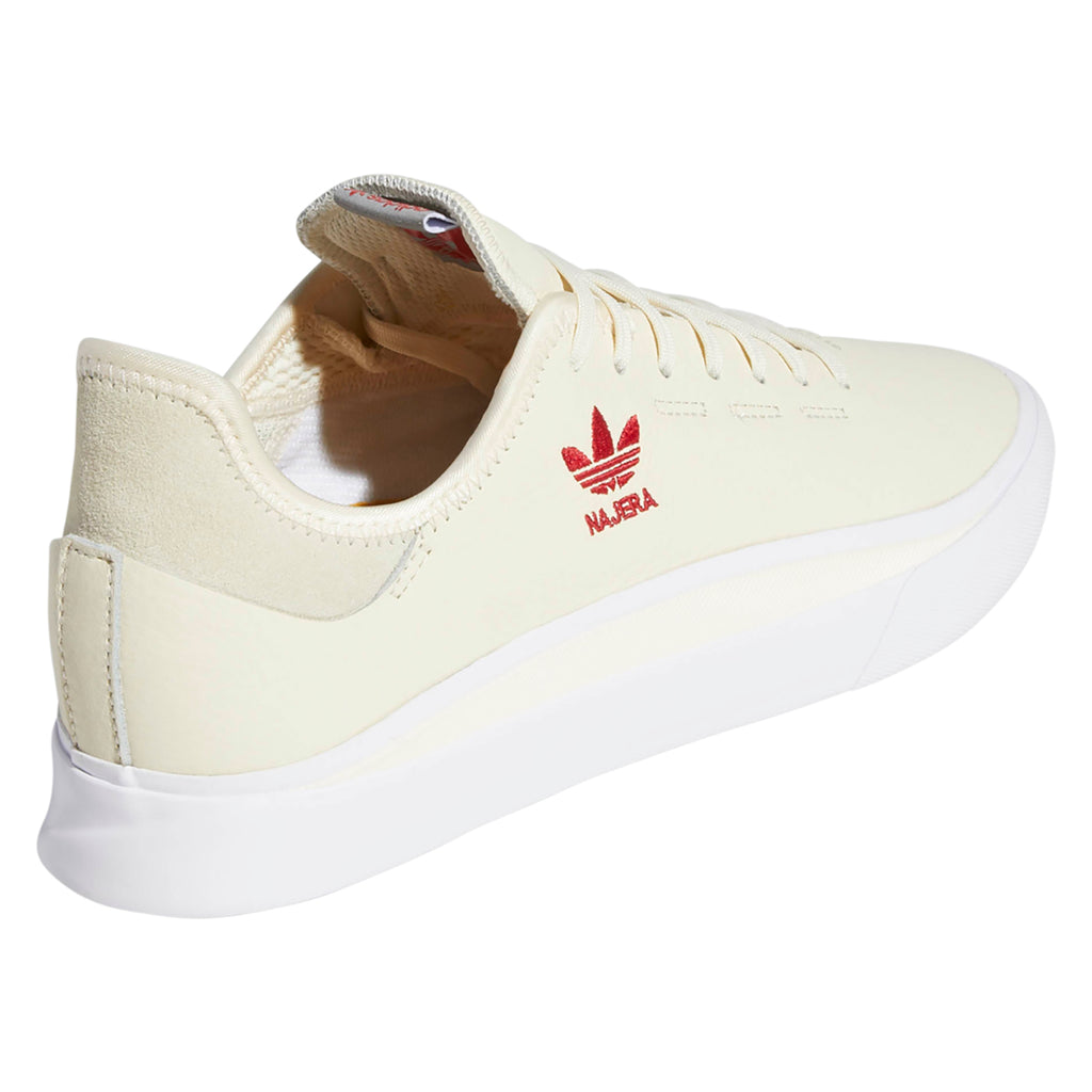 Adidas Skateboarding Sabalo 'Najera' Shoes in Cream White / Footwear White / Power Red - Back