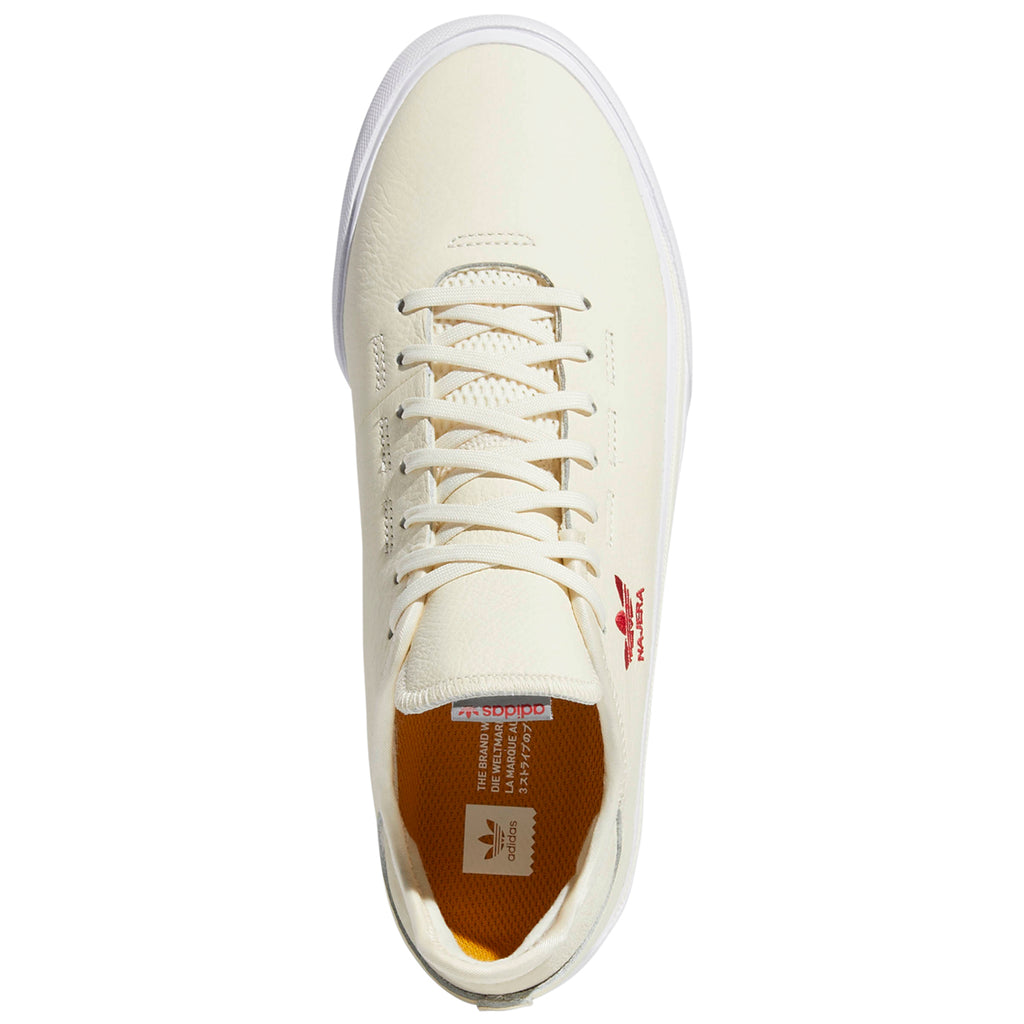 Adidas Skateboarding Sabalo 'Najera' Shoes in Cream White / Footwear White / Power Red - Top