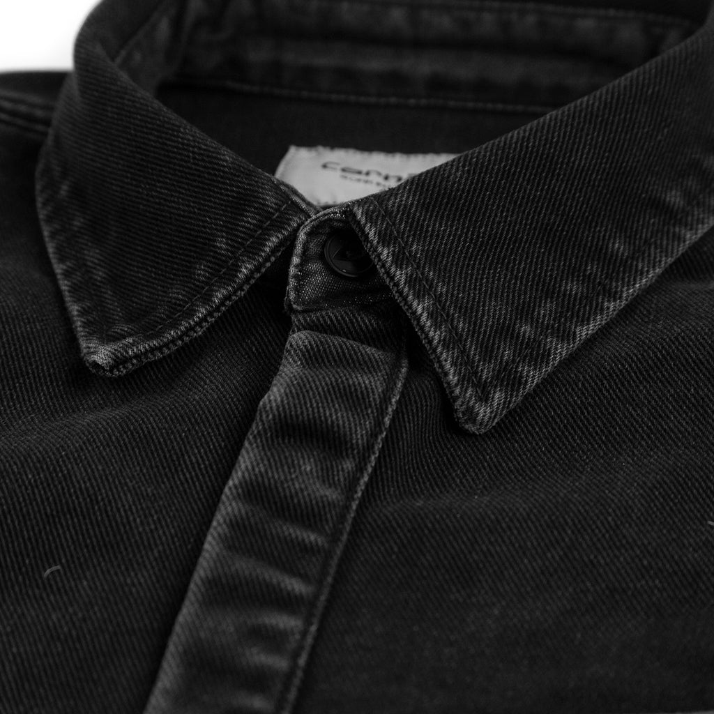 Carhartt WIP Salinac Shirt Jac in Black Stone Washed - Collar