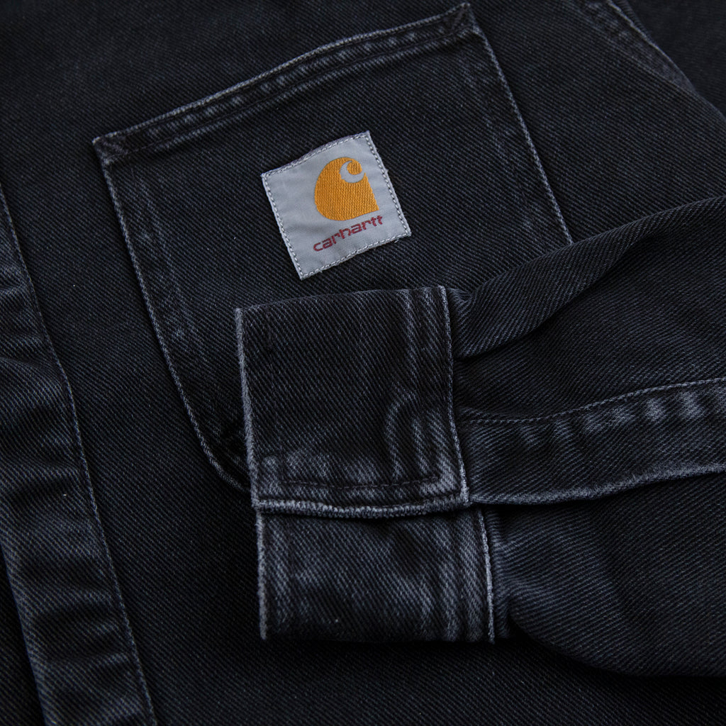 Carhartt WIP Salinac Shirt Jac in Black Stone Washed - Cuff Pocket