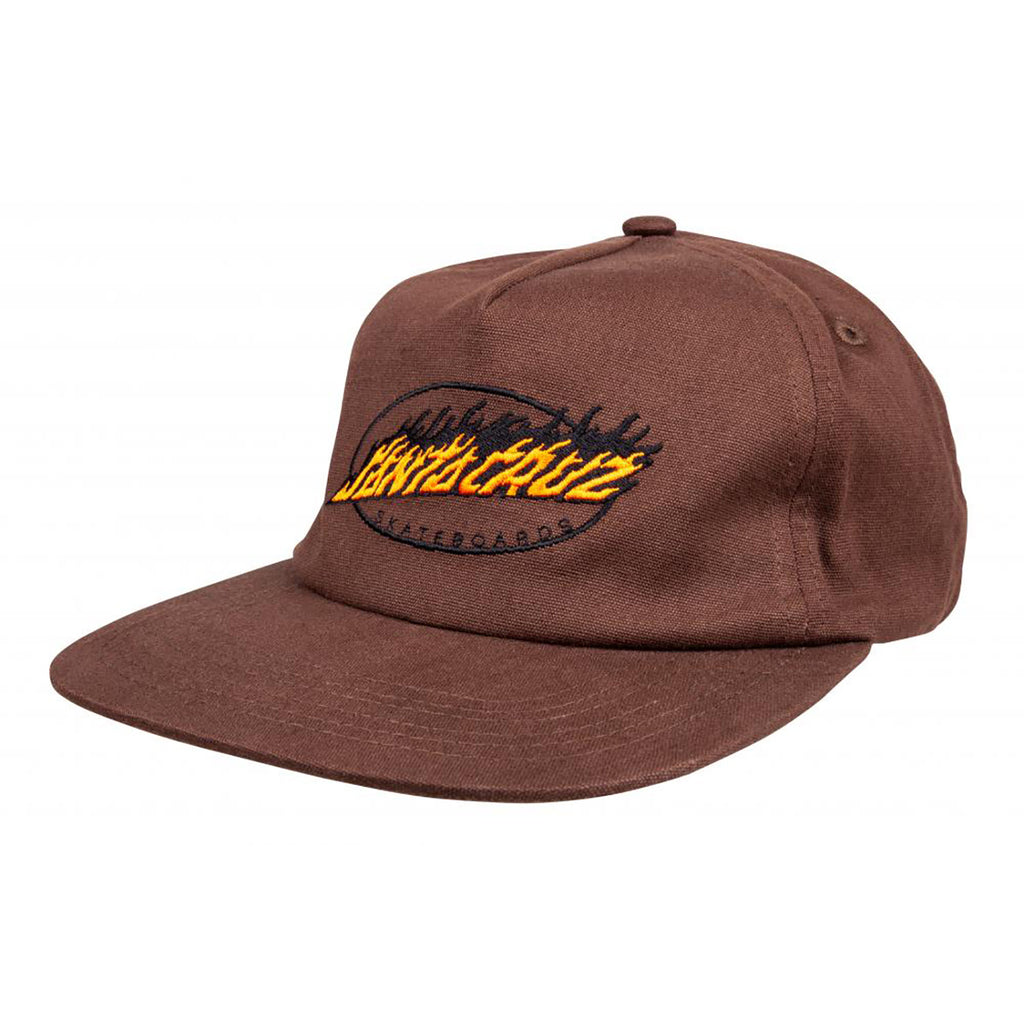 Santa Cruz Oval Flame Dot Cap - Chocolate