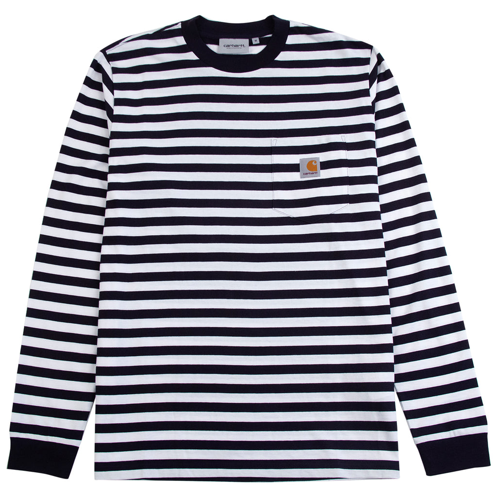 Carhartt WIP L/S Scotty Pocket T Shirt in Dark Navy / White