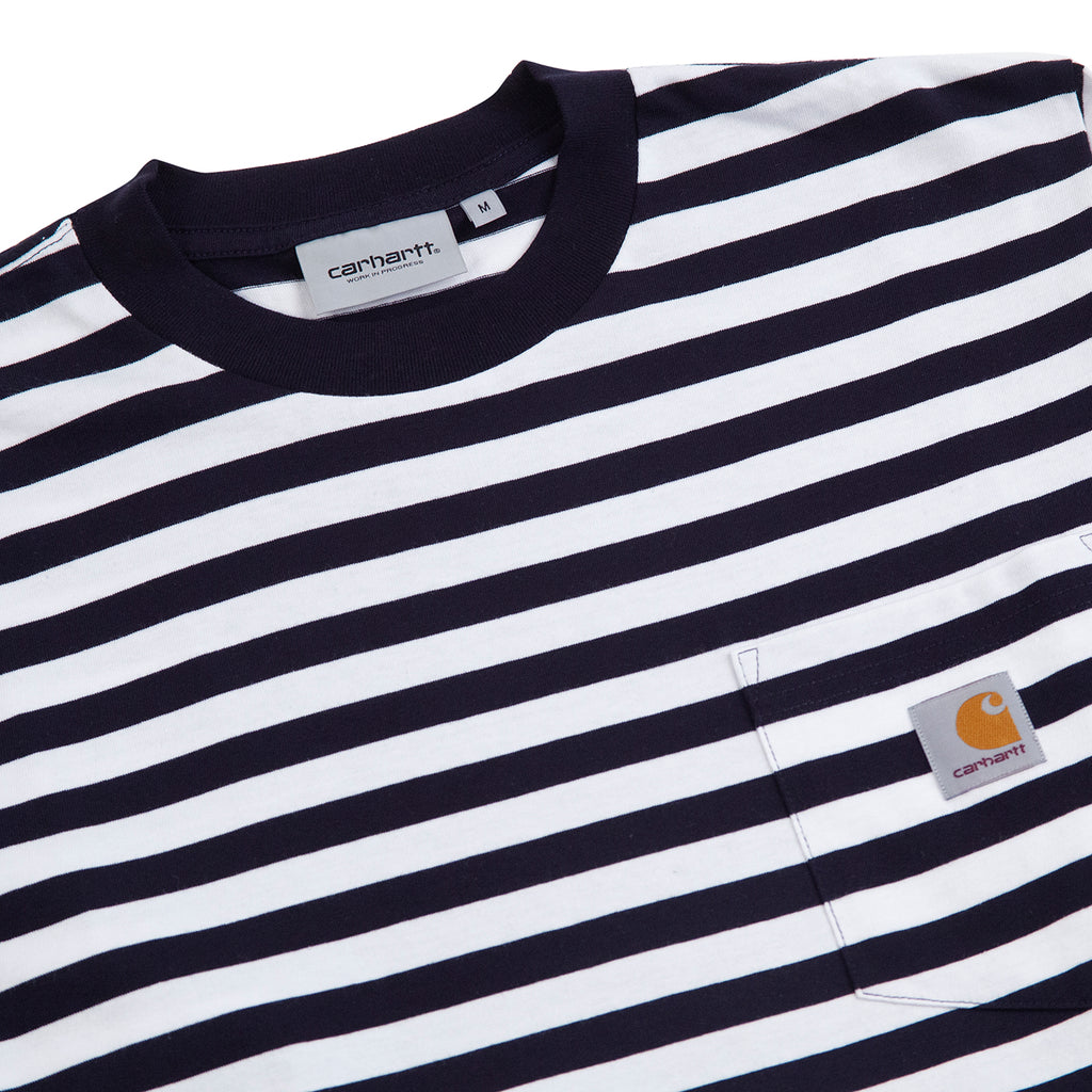 Carhartt WIP L/S Scotty Pocket T Shirt in Dark Navy / White - Detail
