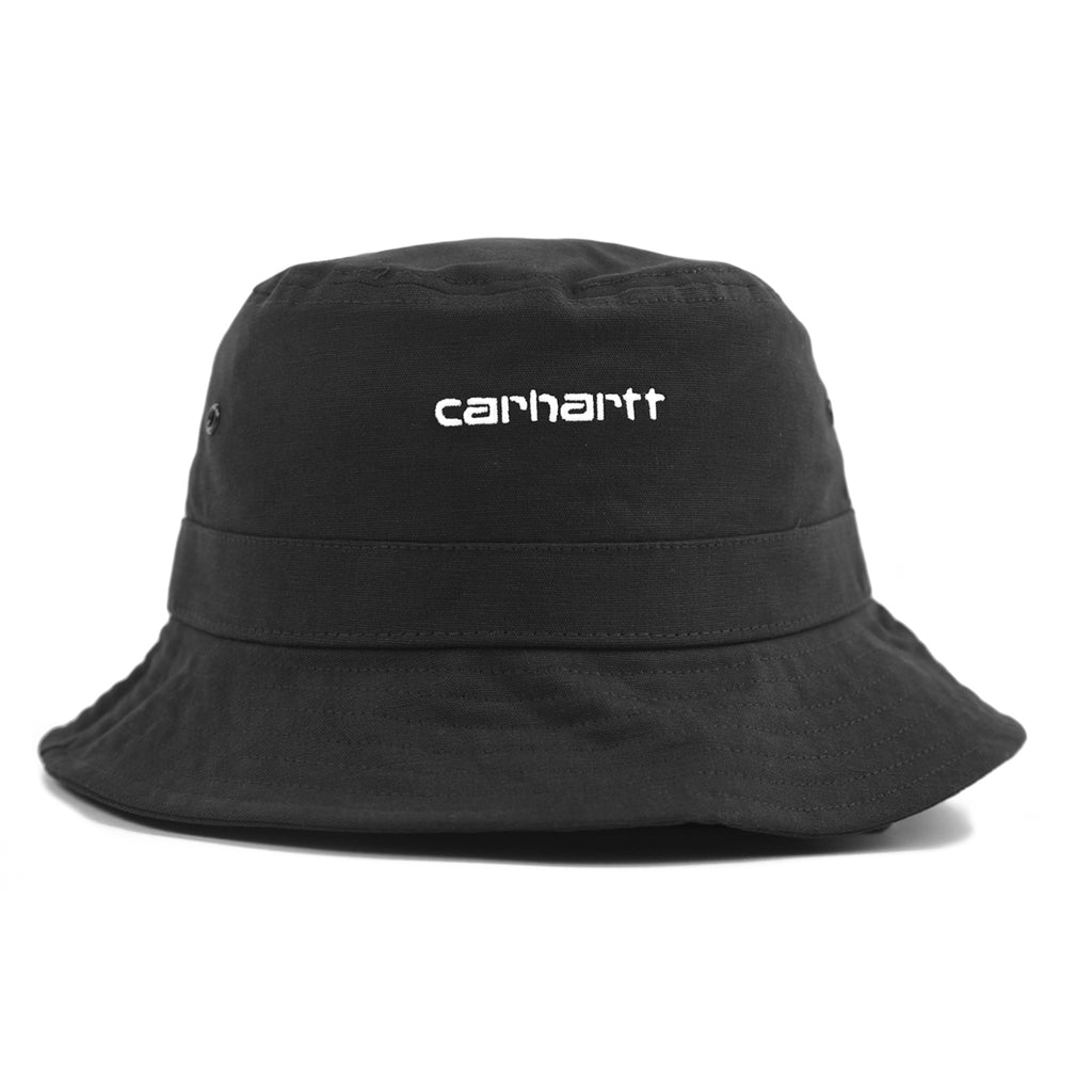 Carhartt WIP Script Bucket Hat in Black / White - Front