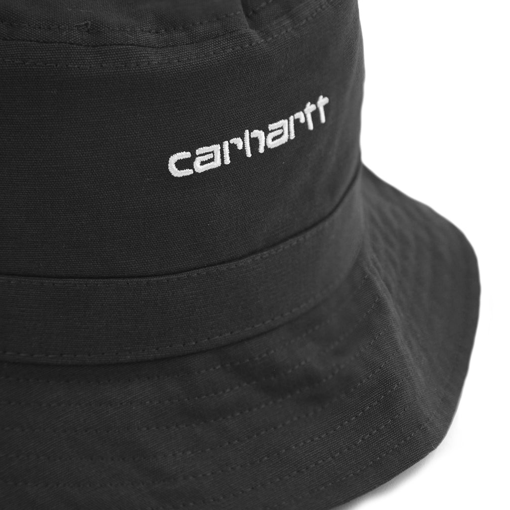 Carhartt WIP Script Bucket Hat in Black / White - Detail