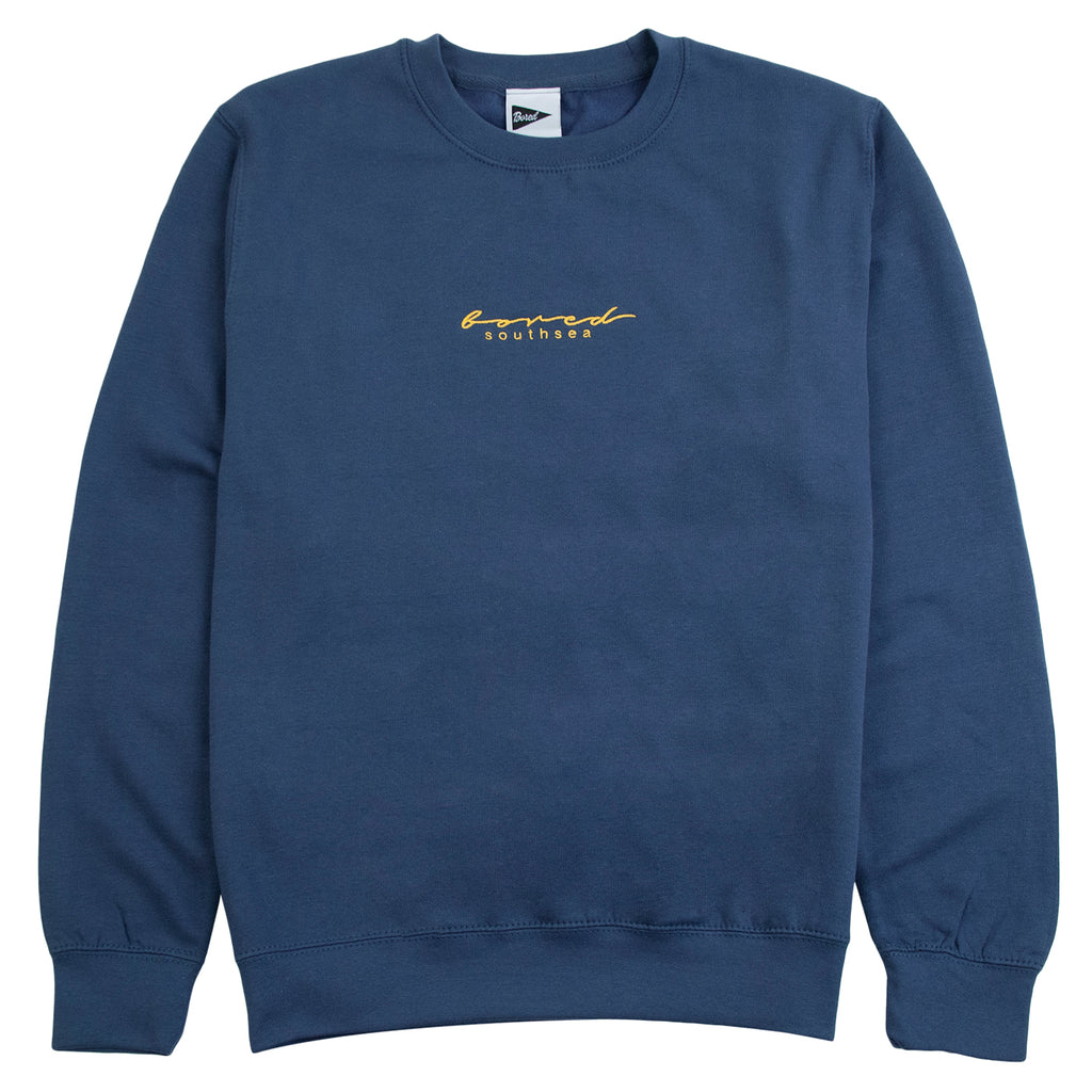 Bored of Southsea Script Sweatshirt in Airforce Blue / Yellow