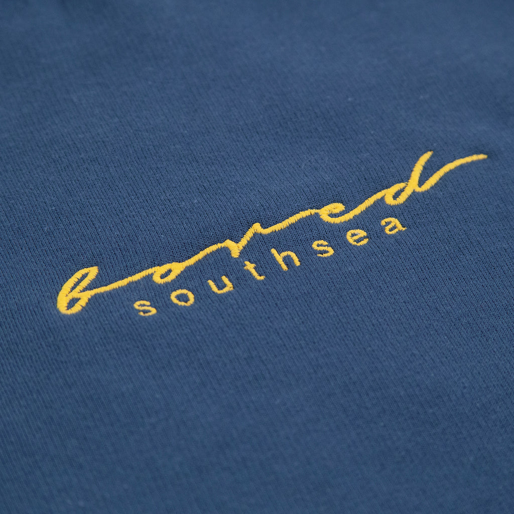 Bored of Southsea Script Sweatshirt in Airforce Blue / Yellow - Embroidery