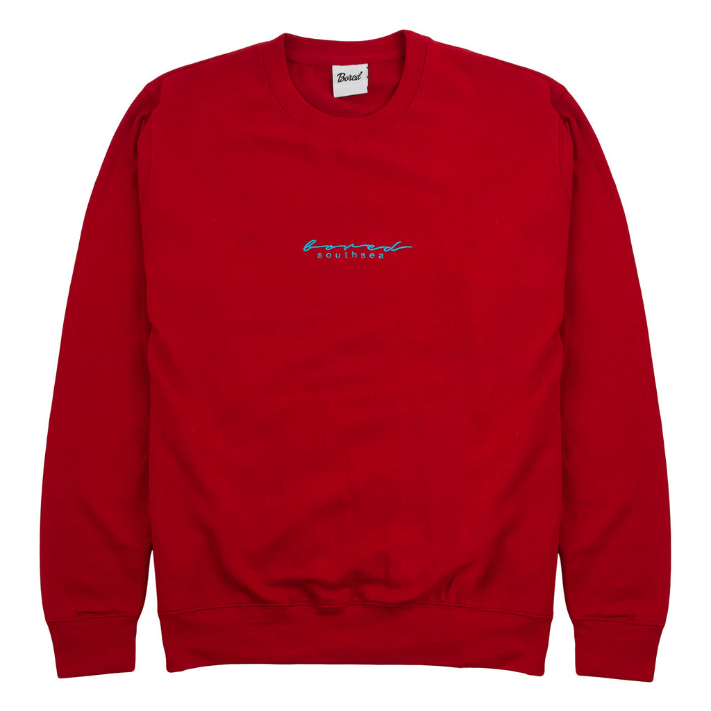 Bored of Southsea Script Sweatshirt in Red Hot Chilli / Aqua