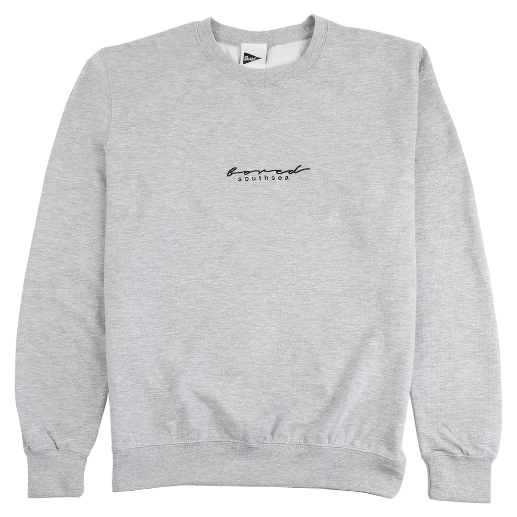 Bored of Southsea Script Sweatshirt in Heather Grey