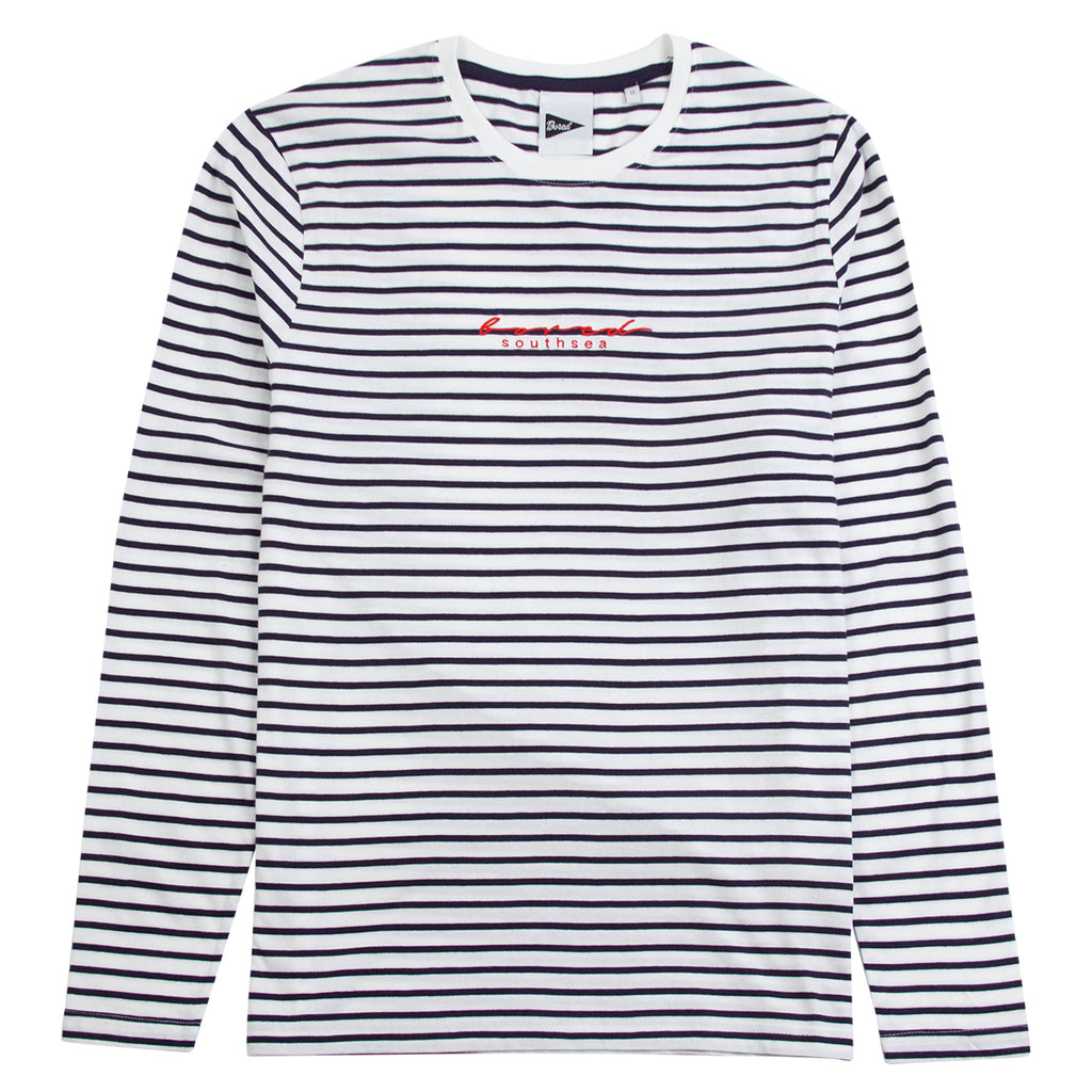 Bored of Southsea L/S Striped Script T Shirt in White / Navy