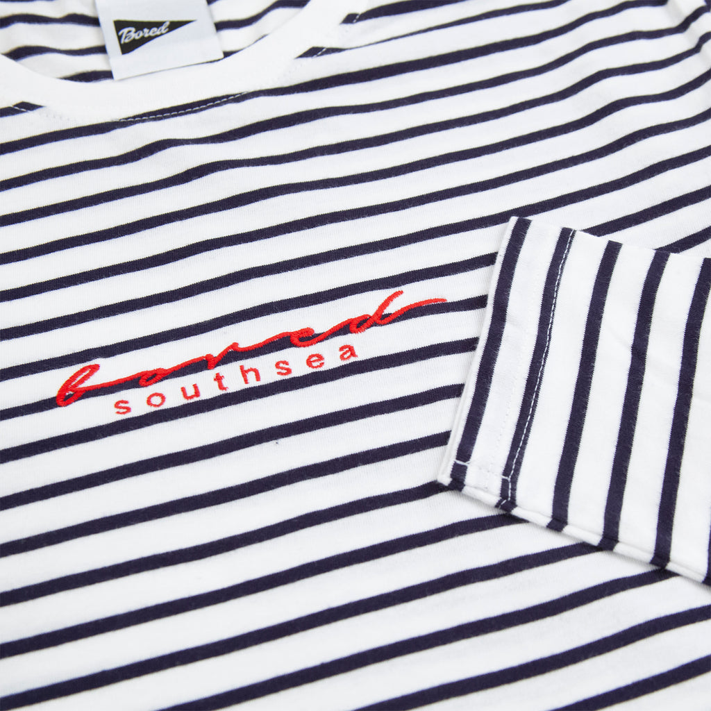 Bored of Southsea L/S Striped Script T Shirt in White / Navy - Cuff