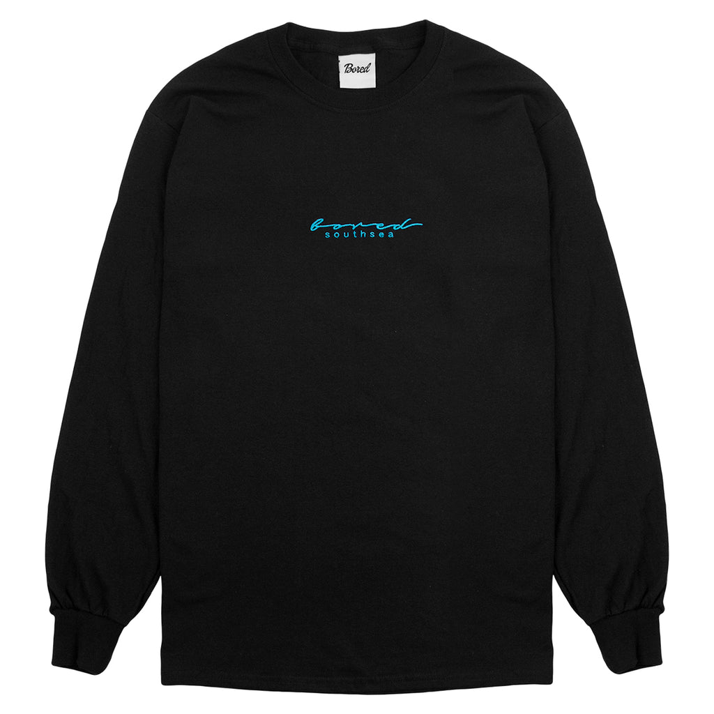 Bored of Southsea L/S Script T Shirt in Black / Aqua