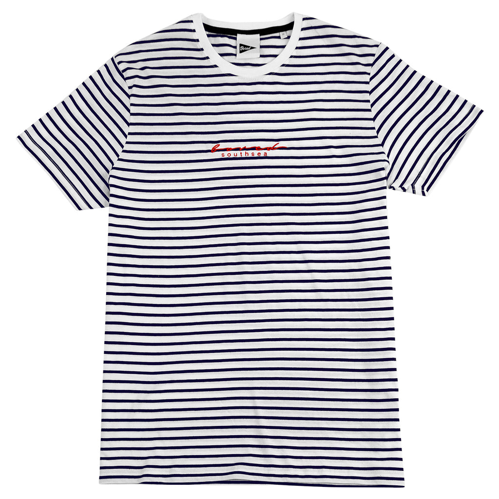 Bored of Southsea Striped Script T Shirt in White / Navy