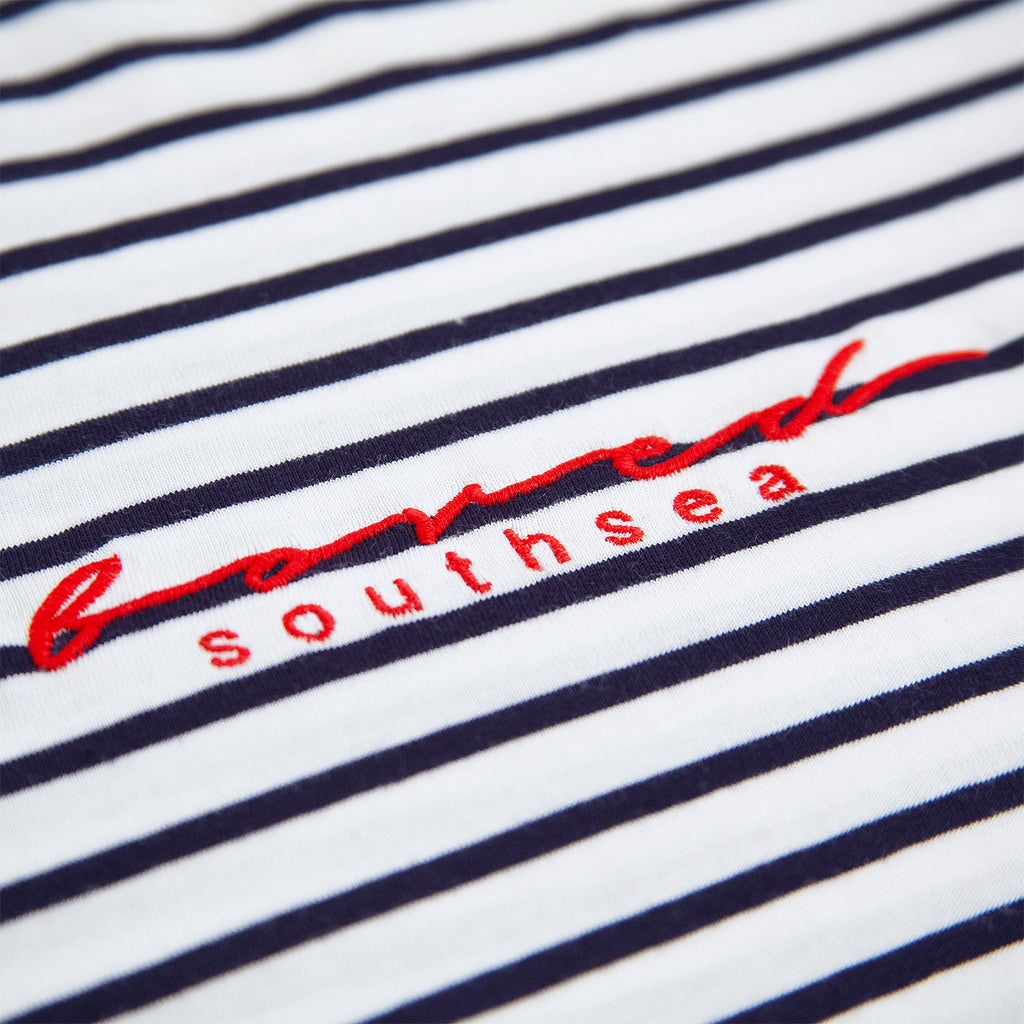 Bored of Southsea Striped Script T Shirt in White / Navy - Detail