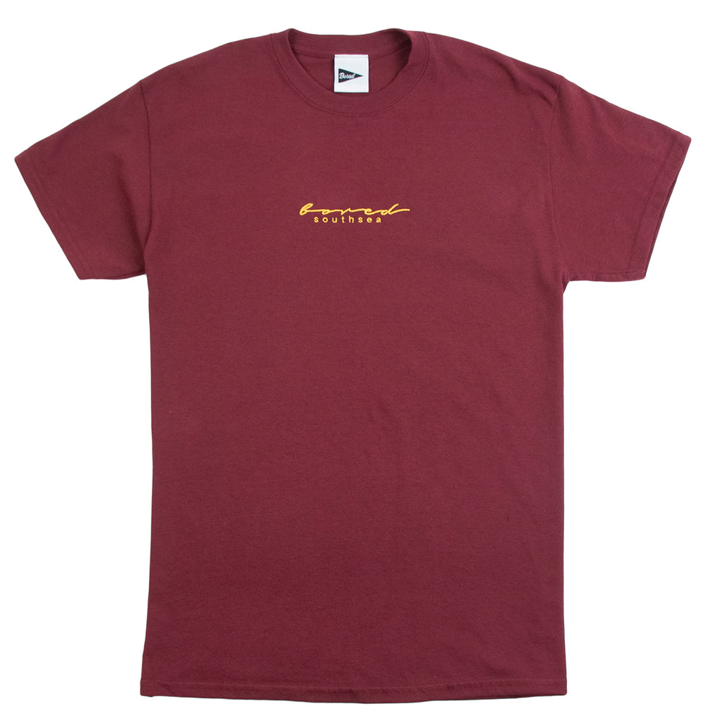 Bored of Southsea Script T Shirt in Maroon / Yellow