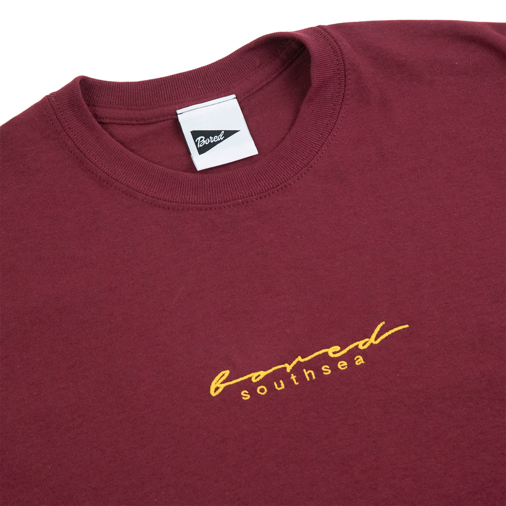 Bored of Southsea Script T Shirt in Maroon / Yellow - Detail