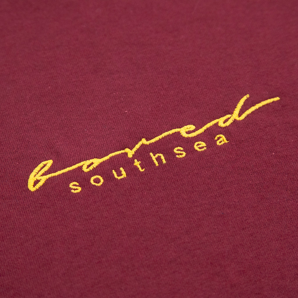 Bored of Southsea Script T Shirt in Maroon / Yellow - Embroidery