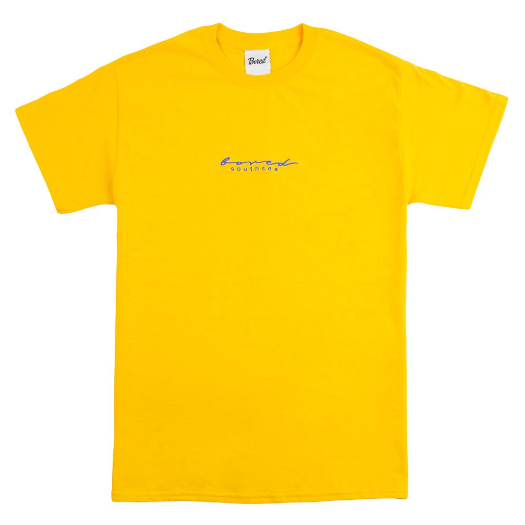 Bored of Southsea Script T Shirt in Gold / Blue