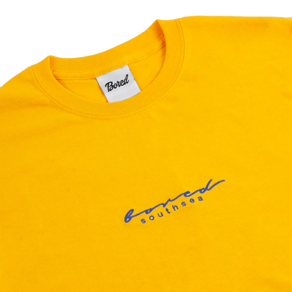Bored of Southsea Script T Shirt in Gold / Blue - Detail