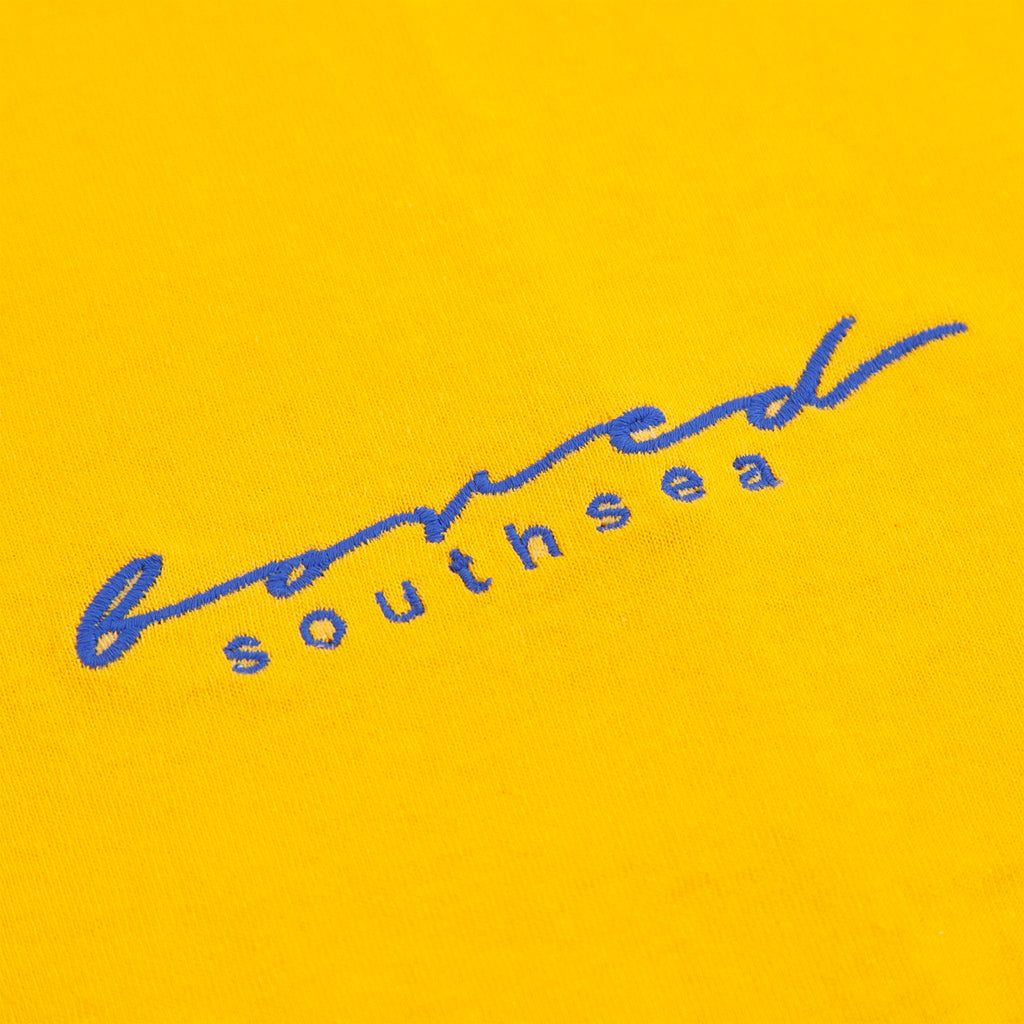Bored of Southsea Script T Shirt in Gold / Blue - Embroidery