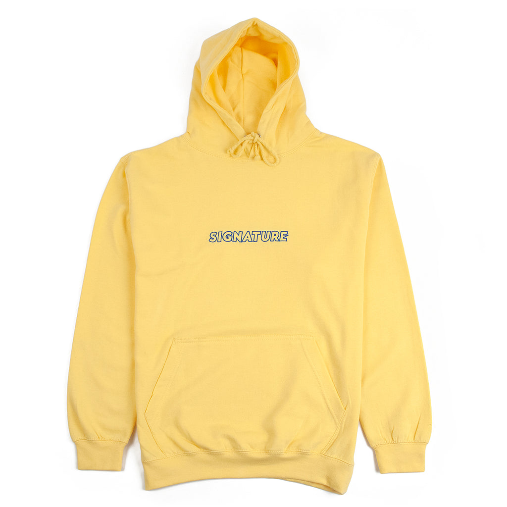 Signature Clothing Outline Logo Embroidered Hoodie in Sherbet Lemon / Blue