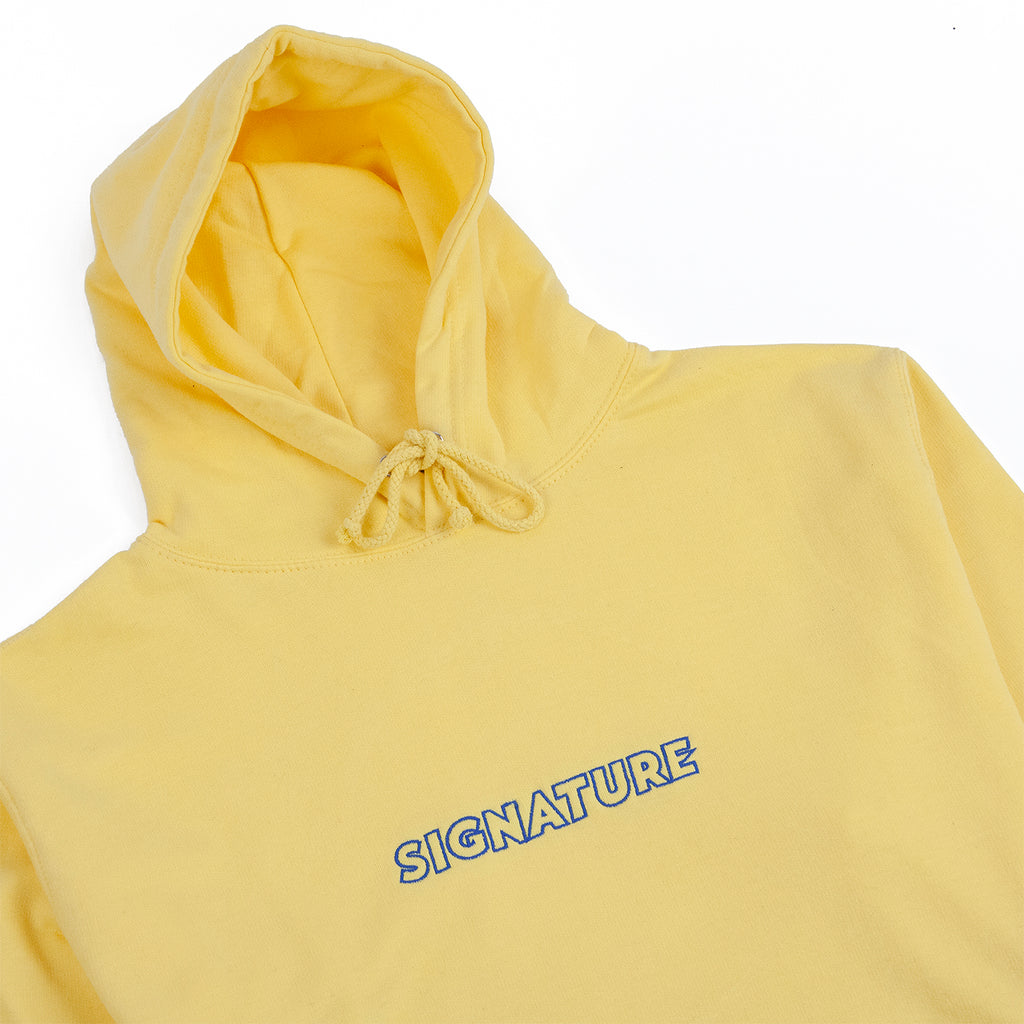 Signature Clothing Outline Logo Embroidered Hoodie in Sherbet Lemon / Blue - Detail